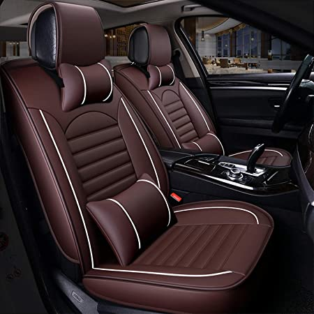 amazon.com: freesoo car seat cover leather, front rear full set luxury car seat  covers universal fit for 5 seats most cars suv pick up truck interior  accessories(coffee 3: automotive  amazon.com