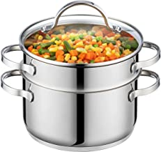 GOURMEX Tango Induction 3Pc Steamer Pot | Multi Level Food Steamer With Glass Cookware Lid | Double Boiler Pot Set | Compa...