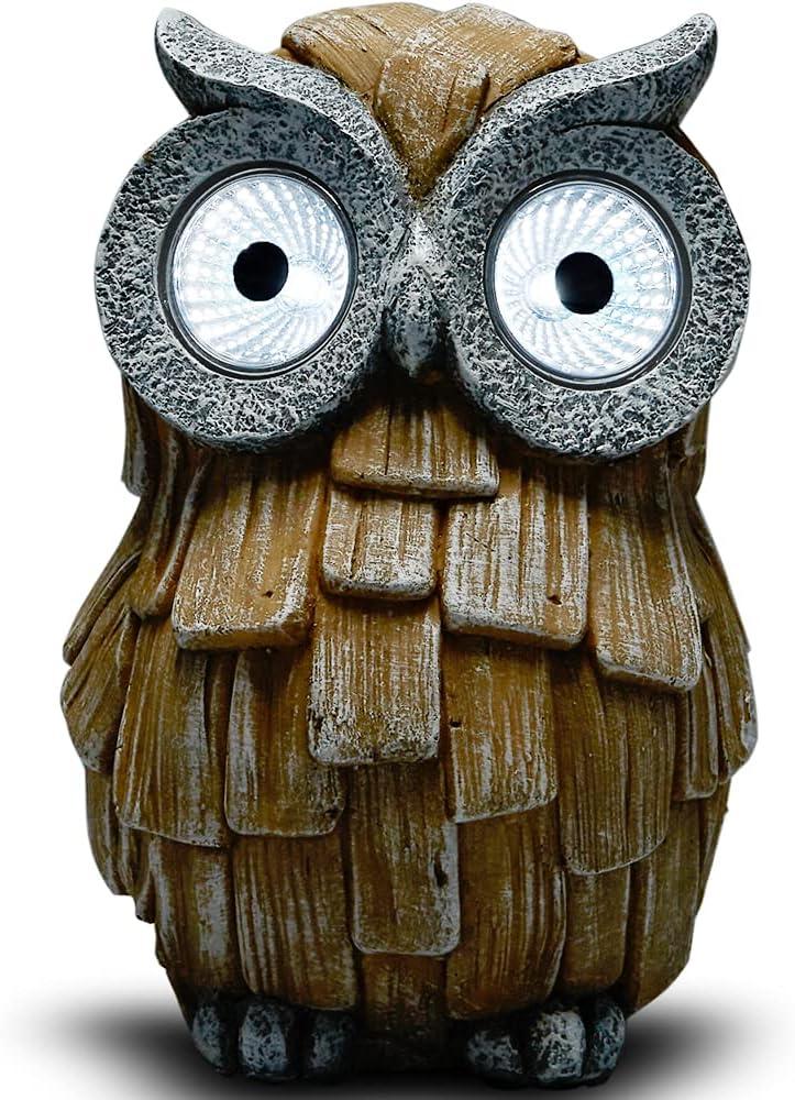 Yiosax Save money Manufacturer OFFicial shop Owl Garden Statue with Solar Eyes an Resin Statues Light