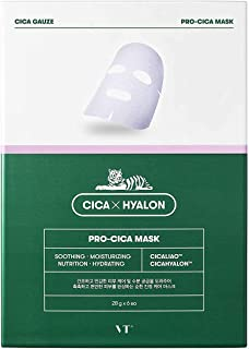 VT Cosmetics Cica Care Hyalon Tone Up, Nutrition, Pro Cica Facial Skin Mask Pack (6pcs) (Pro Cica)