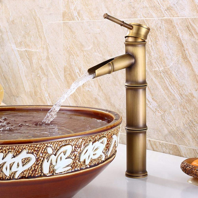 ZHFJGKR&ZL Bathroom Sink Basin Mixer Bamboo Single Hole Basin Mixer Hot And Cold Water Faucet-B
