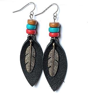 Ethnic Style Bamboo Earrings Southwest Inspired Earrings Hoops Western Style Earrings Dreamcatcher Earrings Turquoise Bead Earrings