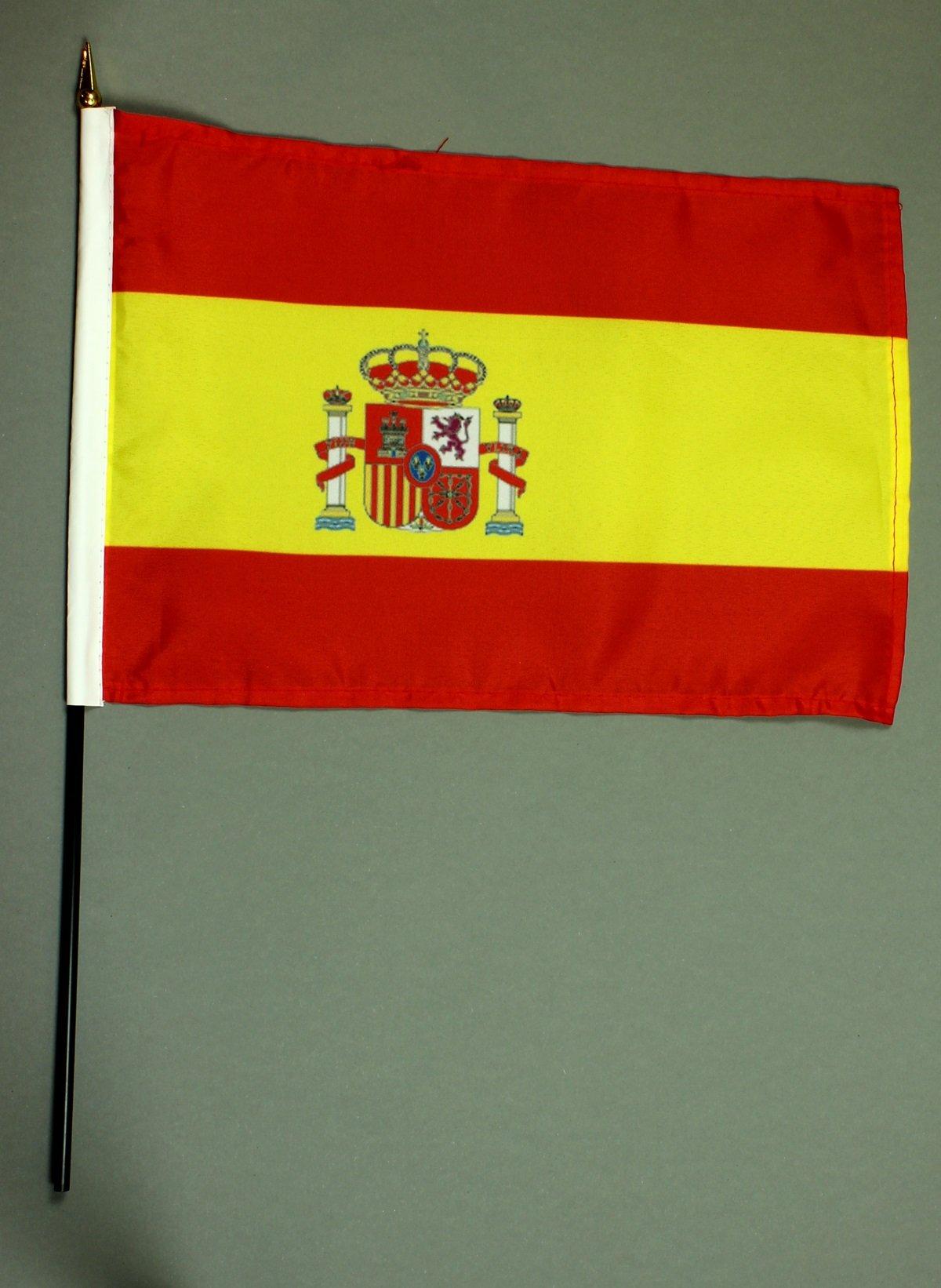 Bandera de España Bandera de mesa 20 x 30 cm y 42 cm de mástil de pvc-tubo, con soporte de pie de madera maciza, Mee: Amazon.es: Deportes y aire libre