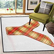 Letter Y Abstract Design Area Rug,Classical Pattern Plaid Capital Y Alphabet Symbol Old Fashioned Non Slip Absorbent Super Cozy Vermilion Pale Yellow Brown 59