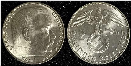 1937 DE SUPERB THIRD REICH (NAZI) SILVER 2 MARK COIN w HINDENBURG/SWASTIKA Choice About Uncirculated 2 Marks Choice About Uncirculated