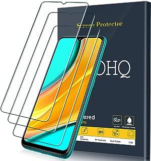QHOHQ Skärmskydd för Xiaomi Poco M3/Redmi 9/Redmi 9A/Redmi 9C, [3-pack] härdat glasfilm, 9H hårdhet – inga bubblor – anti-...