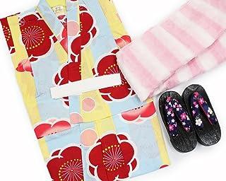 【女の子浴衣3点セット(100)】【黄色と水色地系/ピンク系】3?4歳 兵児帯 下駄 キッズ ガールズ