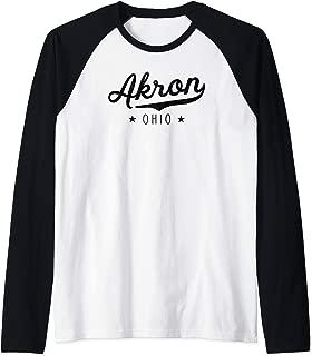 Classic Vintage Retro Akron Ohio Pride Gift Novelty Raglan Baseball Tee