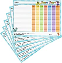 Chore Chart - 6-Pack Dry Erase Reward Chart for Kids, Teach Children Responsibility and Good Behavior, Reusable Self-Adhesive Potty Chart for Home and Classroom, 14.5 x 11 Inches