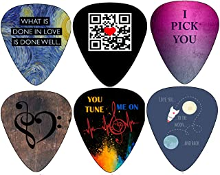 Creanoso I Love You Valentines Guitar Picks (12-Pack) - Unique Loving You Sweet Heart - Cool Romantic Gifts Cool Collectible - Anniversary Gifts for Him Men Women - Premium Music Collection