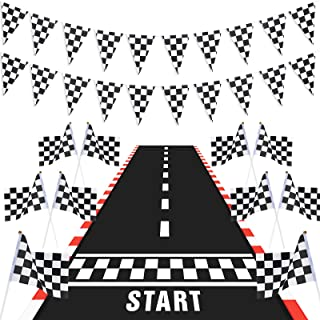 Race Car Party Decorations, Long Racetrack Floor Running Mat Checkered Pennant Banner Racing Flags Checked Black and White...