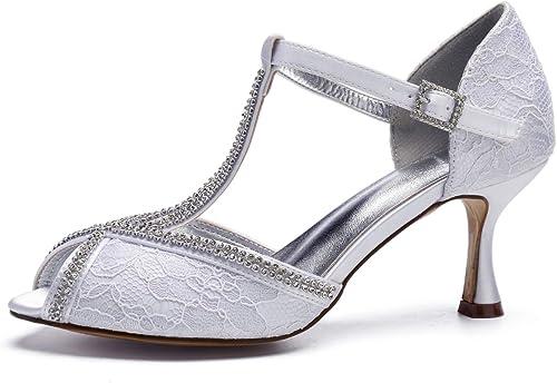 AIMIschuhe schuhe de Vestir de Encaje de damen Cristal Diamante Alrotedor de Punta Abierta T Bombas de Correa Cóctel de Bodas Nupcial Tacones Altos,