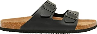 Shoexpress Textured Slip-On Slides with Buckle Accent