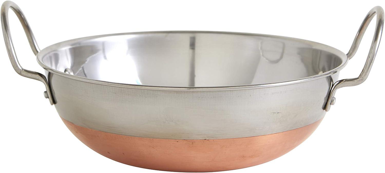 IMUSA USA Stainless Steel Kadhai 7-Inch, Copper Bottom