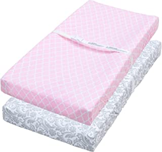 Leakproof Changing Pad Covers, 2 Pack Pink Quatrefoil & Floral Fitted Sheet