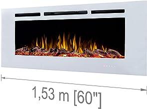 Noble Flame París Blanco 1530 - Chimenea Eléctrica Chimenea de Pared Kaminofen Estufa - Montaje en la Pared Control Remoto - 14,0 cm Profundidad de Montaje - Varios Anchos - Blanco