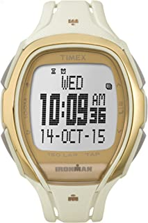 Timex Unisex TW5M05800 Ironman Sleek 150 Tapscreen Full-Size White/Gold-Tone Resin Strap Watch