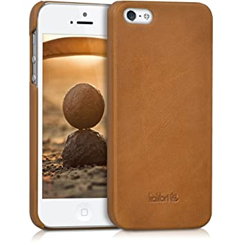 kalibri Hülle kompatibel mit Apple iPhone SE (1.Gen 2016) / 5 / 5S - Leder Handy Cover Case - Hardcover Schutzhülle Cognac
