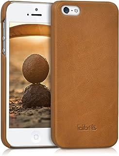 kalibri Case Compatible with Apple iPhone SE (1.Gen 2016) / 5 / 5S - Smooth Genuine Leather Hard Case Anti Slip Back Cover - Cognac