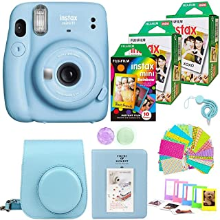 Fujifilm Instax Mini 11 Camera with 2X Fuji Instant Film Twin Pack - Fujifilm Instax Mini Rainbow Film Total 50 Shoot+ Cas...