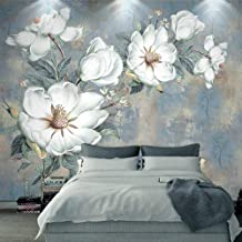 UKWCDSKK Self-adhesive wallpaper Wallpaper 3D embossed white flower oil painting wallpaper bedroom living room mural wallp...