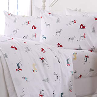 Great Bay Home Extra Soft Printed 100% Turkish Cotton Flannel Sheet Set. Warm, Cozy, Luxury Winter Bed Sheets. Belle Collection (Queen, Pups in The Snow)