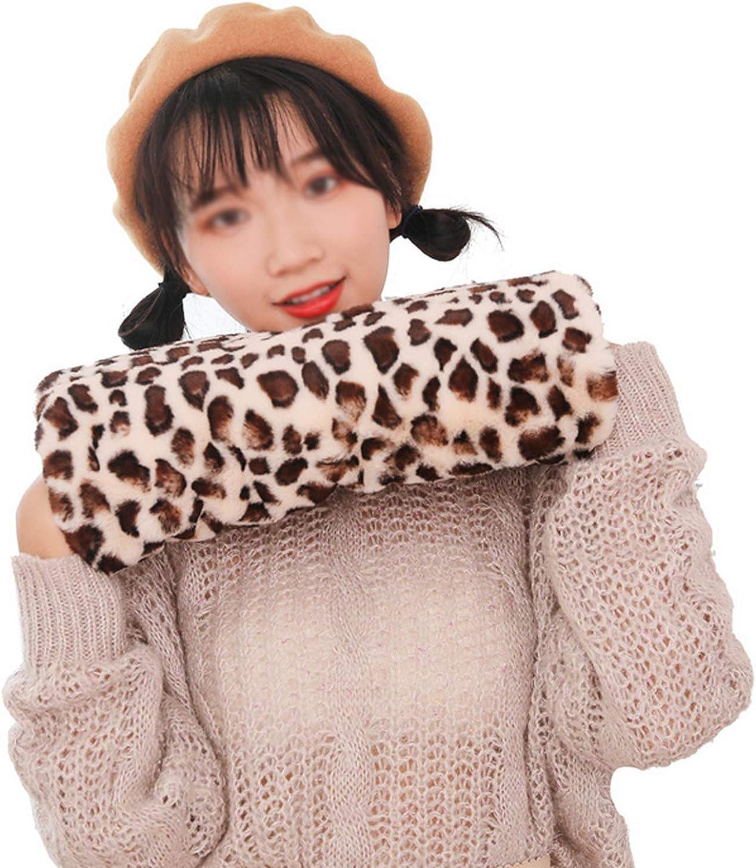 Unisex Leopard Winter Hands Muffs Furry Thick Warm Hands Warmers Mittens Gloves Gift for Elders Women Men Teen Girls Boys