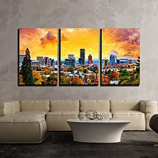 wall26 - 3 Piece Canvas Wall Art - Portland Oregon Downtown City During Sunset in The Fall Season Abtract Painting - Modern Home Decor Stretched and Framed Ready to Hang - 24
