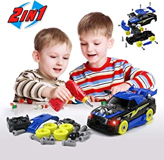 BeebeeRun 2-in-1 Take Apart Racing Car, DIY Toys 26 Pieces Stem Learning Assembly Car Toys with Electric Drill Tool, Lights and Sounds for Kids Boys Girls