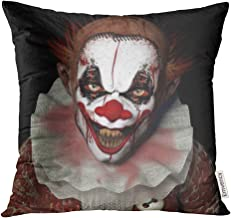 Golee Throw Pillow Cover Scary Scarier Clown 1 with Sharp Pointy Teeth Glaring at You Black Horror Evil Decorative Pillow Case Home Decor Square 18x18 Inches Pillowcase