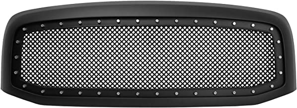 Paragon Front Grille for 2006-08 Dodge Ram 1500/2500/3500 - Matte Black Grill Grilles with Mesh and Rivets