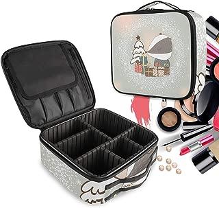 Oso De Zorro De Nieve Blanca Bolsa de Maquillaje Organizador de Cosméticos Portátil Estuche Mochila con Divisor Ajustable para Mujeres Niñas