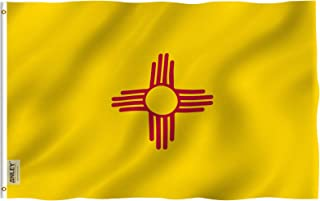 Anley Fly Breeze 3x5 Foot New Mexico State Flag - Vivid Color and UV Fade Resistant - Canvas Header and Double Stitched - New Mexico NM Flags Polyester with Brass Grommets 3 X 5 Ft