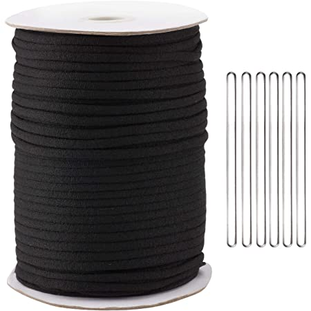 125Yard 1/5 Inch Wide Black Elastic String Cord Bands Rope with 100 pcs 50MM Aluminum Nose Bridge for Sewing Crafts DIY Mask (125 Yard Black with Nose Bridge)