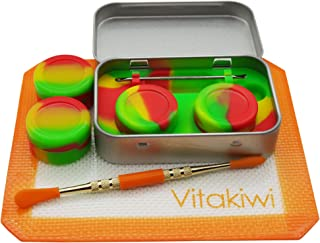 Vitakiwi Silicone Wax Carving Travel Kit Set with Non-stick 5ml Rasta Concentrate Containers + 4.8