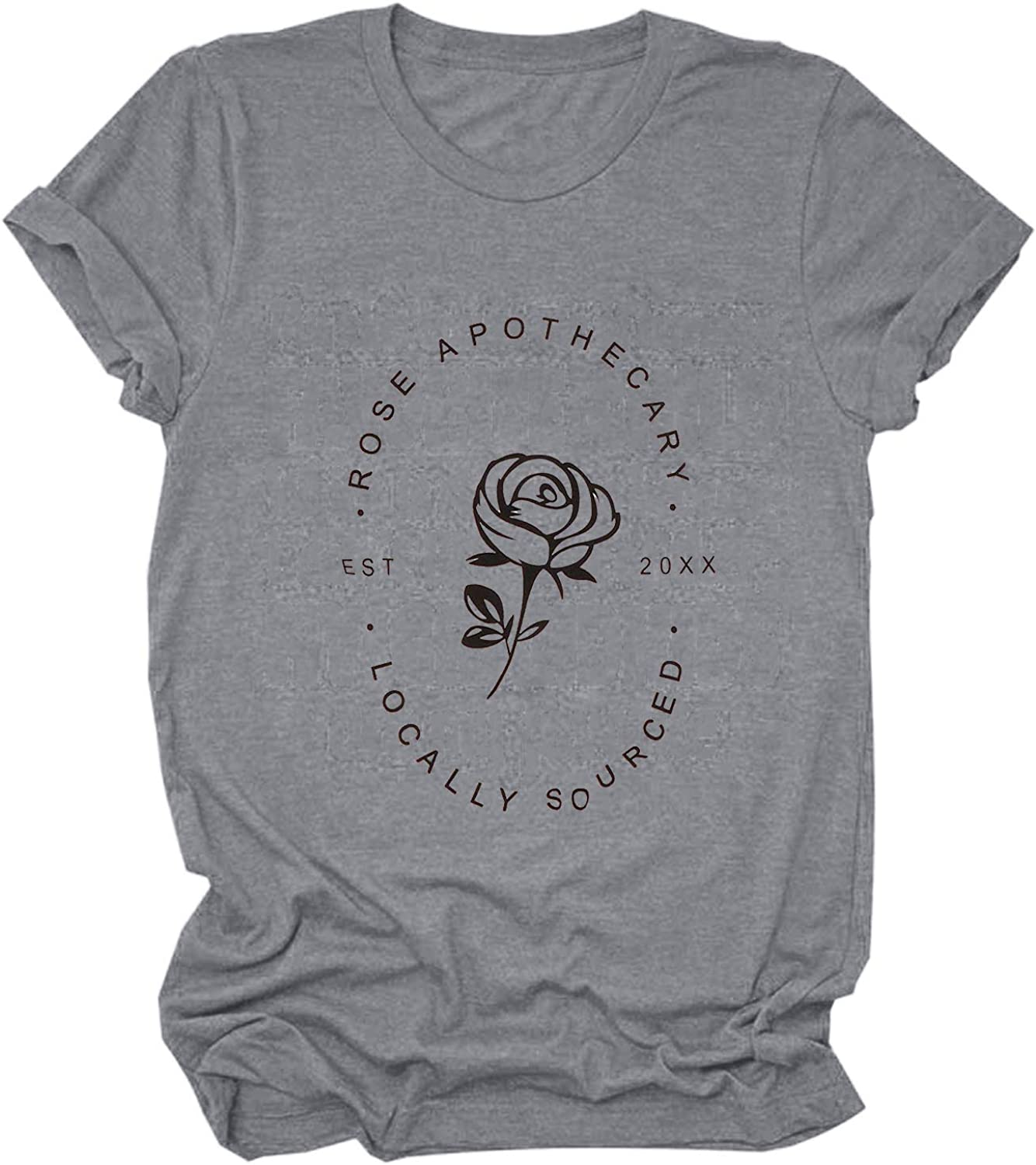 Womens Rose Apothecary Shirts Locally Sourced Graphic Tees with Sayings Funny Short Sleeve Causal Holiday Tops