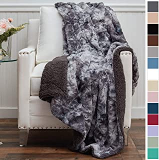 The Connecticut Home Company Luxury Faux Fur with Sherpa Reversible Throw Blanket, Super Soft, Large Wrinkle Resistant Blankets, Warm Hypoallergenic Washable Couch or Bed Throws, 65x50, Gray Tie Dye