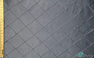 Silver Grey Big Diamond Pin Tuck Embroidery Upholstery Fabric Polyester Medium Weight 58