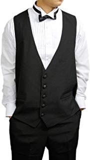 Mens 100% Wool Black 5 Button Tuxedo Vest