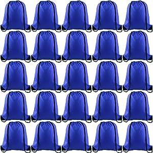 KUUQA 25Pcs Drawstring Backpack Bags String Backpack Sport Bag Sack Cinch Gym Backpack Bulk for Gym Sport Traveling,Royal Blue