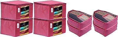 Heart Home Non Woven 4 Pieces Saree Cover/Cloth Wardrobe Organizer and 4 Pieces Blouse Cover Combo Set (Pink) HEART3154