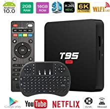 $33 » Android 10.0 TV Box T95 Super TV Box Allwinner H3 Quad-Core 2GB RAM 16GB ROM Support WiFi 2.4GHz 3D 4K H.265 Smart Android TV Box Media Player with Wireless Keyboard Remote