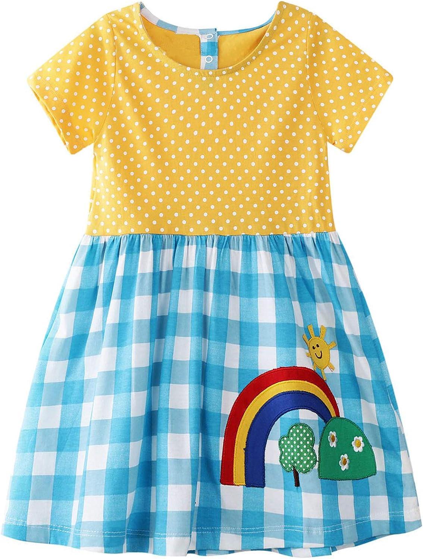 60s 70s Kids Costumes & Clothing Girls & Boys HILEELANG Little Girl Trends Spring Summer Casual Cotton Applique Tunic Dress Shirt  AT vintagedancer.com