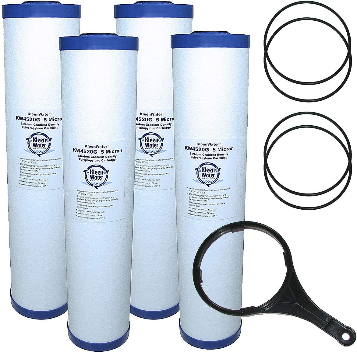 KleenWater KW4520G Sediment Water Filter Qty4 Max Sacramento Mall 80% OFF KW101 Cartridges