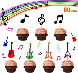 【Set of 60】- Music Notes Cupcake Topper, Rock Guitar Cupcake Topper, Music Notes Decorations Party Supplies Birthday Cake Decorating Tools Baby Showers Party