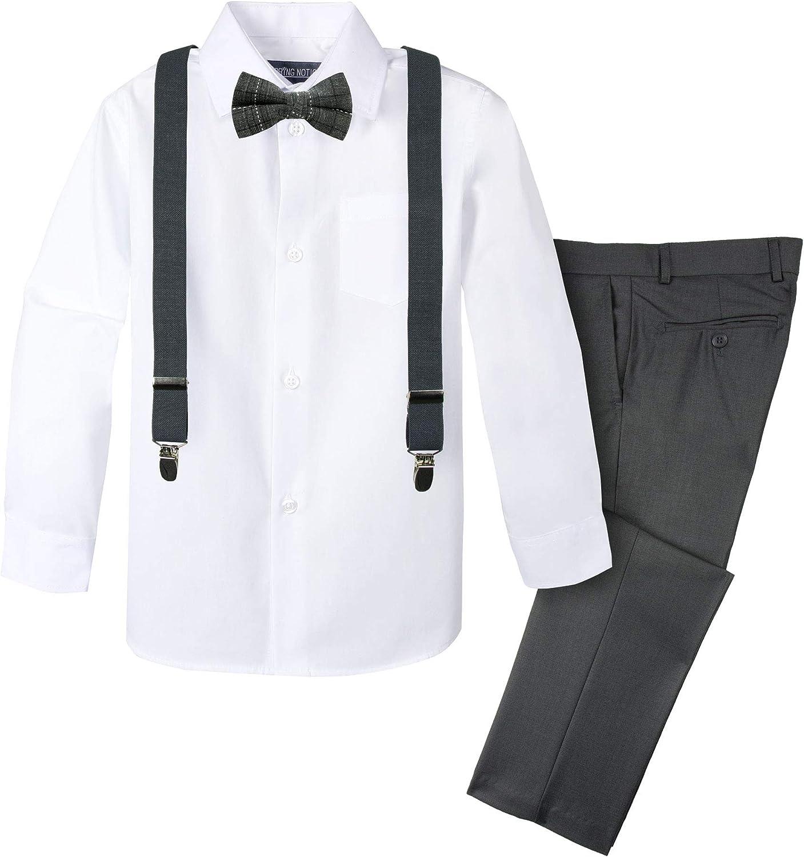Spring Notion Long Beach Mall Cheap bargain Boys' 4-Piece Suspender Outfit Plaid