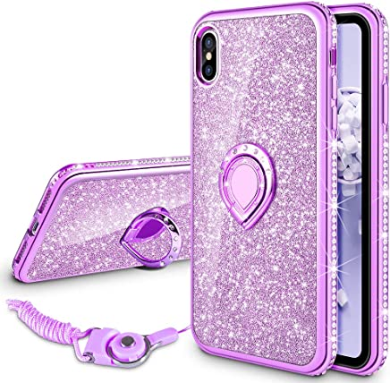 VEGO Case for Apple iPhone Xs iPhone X 5.8 inch,Glitter Case Bling Diamond Rhinestone with Kickstand Ring Grip Girls Women Case for iPhone Xs(Purple 5.8in)