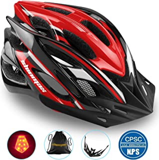 Basecamp Specialized Bike Helmet, Bicycle Helmet CPSC&CE Certified with Helmet Accessories-LED Light/Removable Visor/Portable Bag Cycling Helmet BC-DDTK Adjustable for Adult Men&Women Road&Mountain