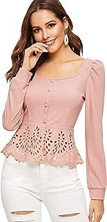 SweatyRocks Women's Casual Scalloped Hem Square Neck Button Up Cap Sleeve Blouse Top Shirts