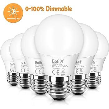 Eofiti Bombilla LED E27 Regulable, 6W E27 LED Blanco Calido 2700K ...